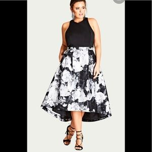 City Chic black/white floral party dress